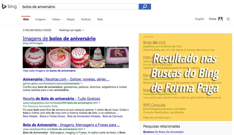 Microsoft Bing Ads nos resultado de busca