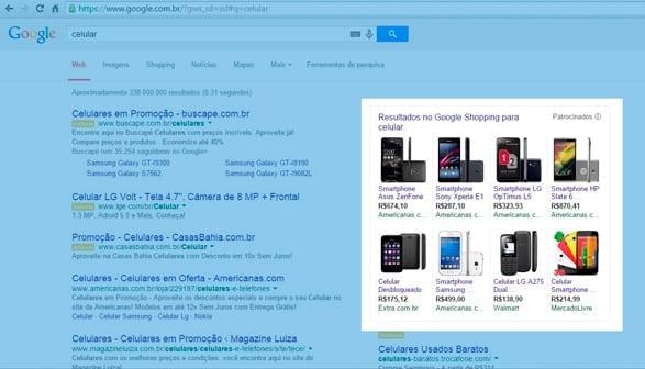 Tela de pesquisa do Google Shopping